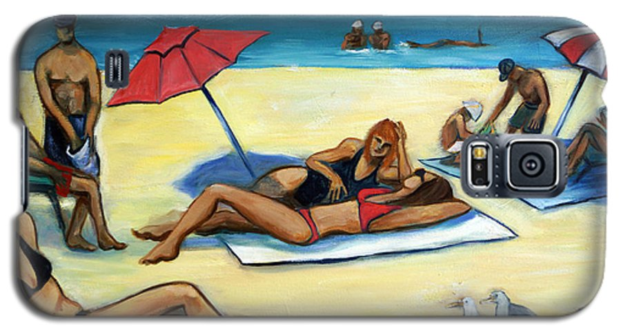 Beach Scene Galaxy S5 Case featuring the painting The Beach by Valerie Vescovi