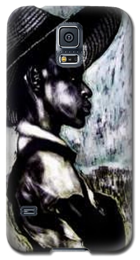 Portrait Galaxy S5 Case featuring the mixed media The Berry Picker by Chester Elmore
