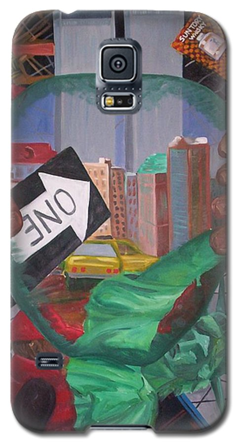 New York Galaxy S5 Case featuring the painting The Big Apple by Lauren Luna