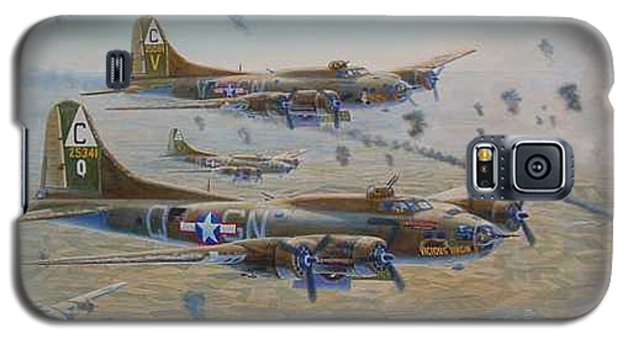 303rd Bomb Groups Vicious Virgin Galaxy S5 Case featuring the painting The Bomb Run Over Schwienfurt by Scott Robertson