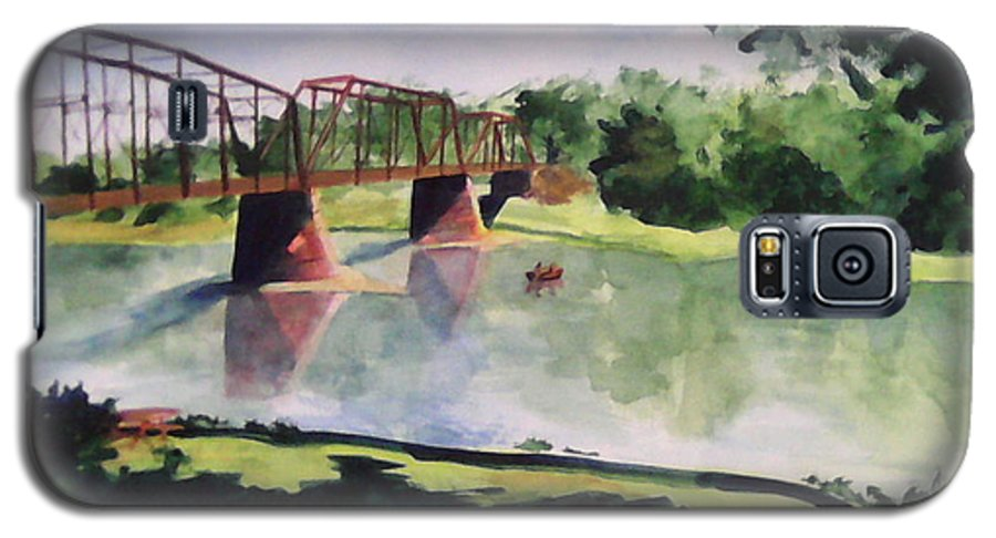 Bridge Galaxy S5 Case featuring the painting The Bridge At Ft. Benton by Andrew Gillette
