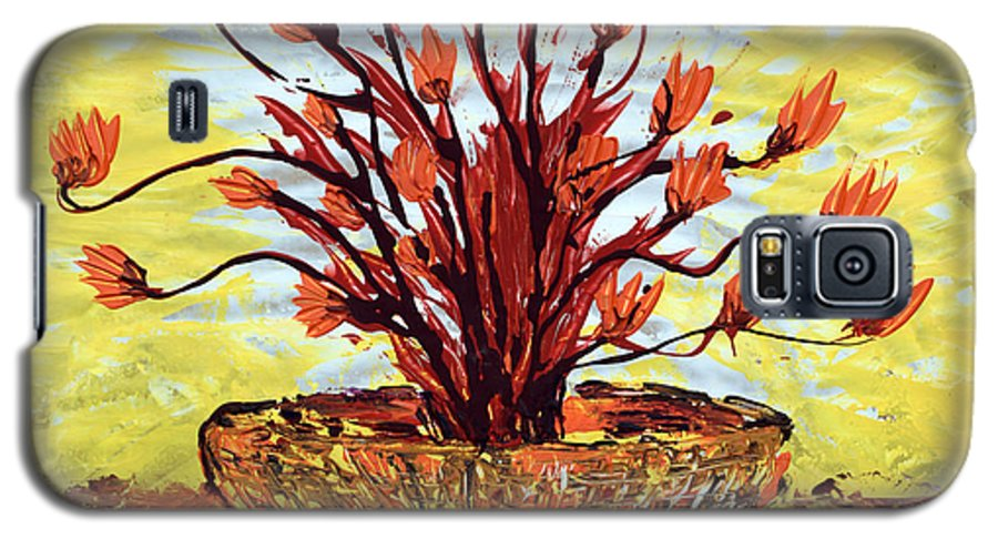 Red Bush Galaxy S5 Case featuring the painting The Burning Bush by J R Seymour