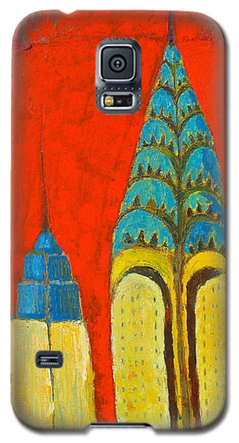 Galaxy S5 Case featuring the painting The Chrysler And The Empire State by Habib Ayat