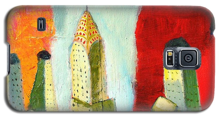 Abstract Cityscape Galaxy S5 Case featuring the painting The Chrysler In Colors by Habib Ayat