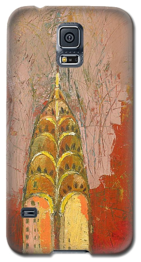 Abstract Cityscape Galaxy S5 Case featuring the painting The Chrysler In Motion by Habib Ayat