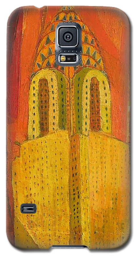 Abstract Cityscape Galaxy S5 Case featuring the painting The Chrysler In Red by Habib Ayat