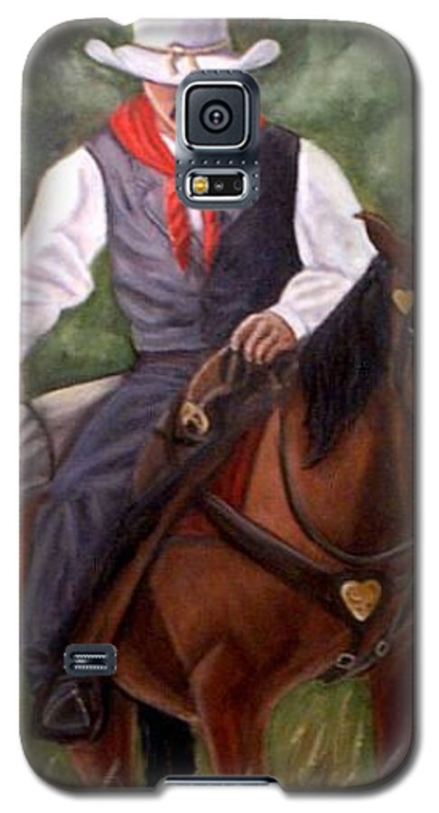 Portrait Galaxy S5 Case featuring the painting The Cowboy by Toni Berry