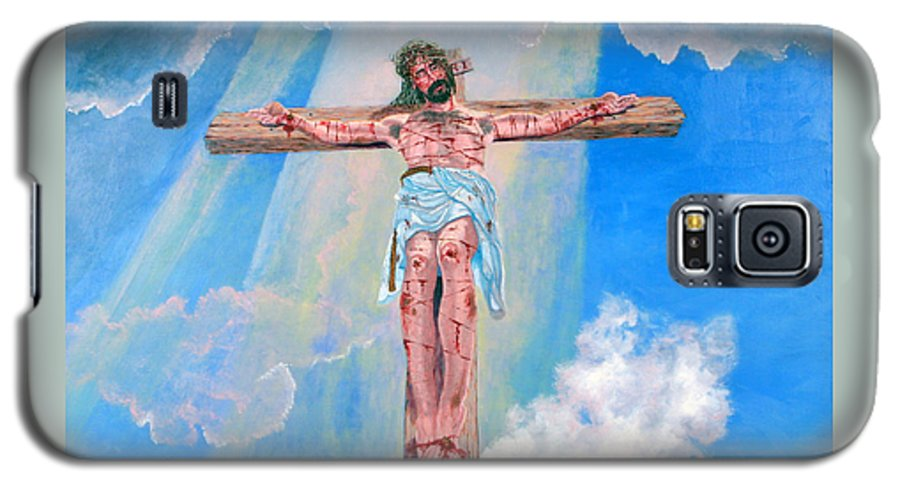 Christian Galaxy S5 Case featuring the painting The Crucifixion Daytime by Stan Hamilton