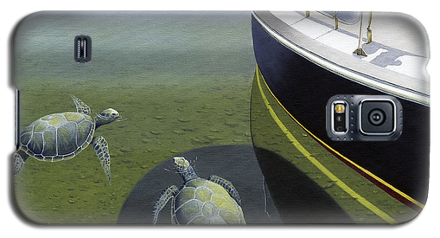 Sail Boat Galaxy S5 Case featuring the painting The Curiosity Of Sea Turtles by Gary Giacomelli