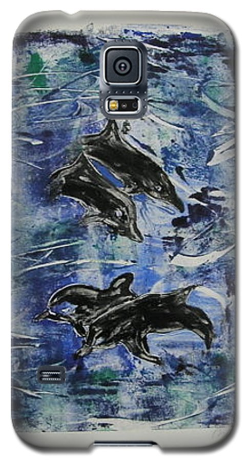Monotype Galaxy S5 Case featuring the mixed media The Deep Sea by Cori Solomon