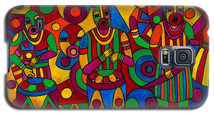 Abstract Galaxy S5 Case featuring the painting The Festival by Emeka Okoro