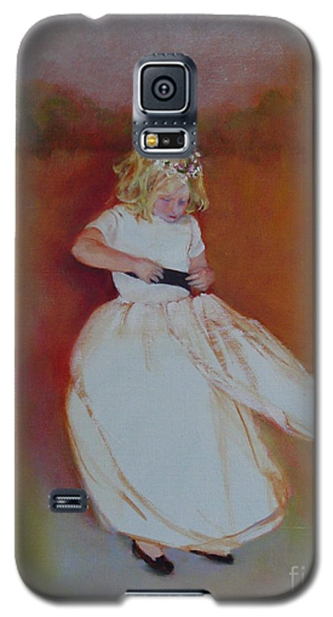 Contemporary Portrait Galaxy S5 Case featuring the painting The Flower Girl Copyrighted by Kathleen Hoekstra