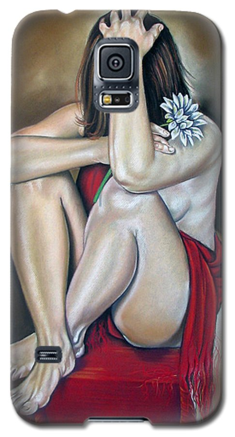Nude Galaxy S5 Case featuring the pastel The Flower by Ilse Kleyn