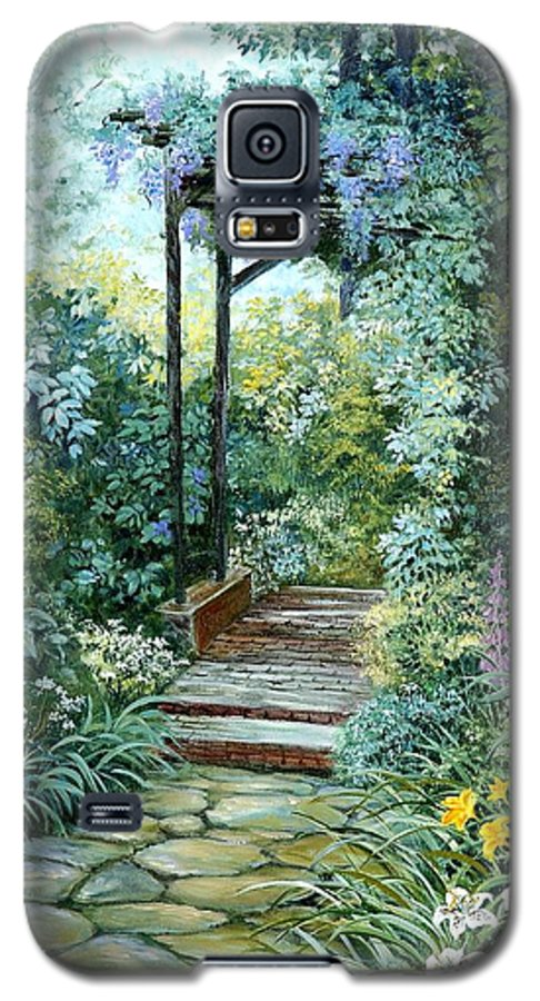 Oil Painting;wisteria;garden Path;lilies;garden;flowers;trellis;trees;stones;pergola;vines; Galaxy S5 Case featuring the painting The Garden Triptych Right Side by Lois Mountz