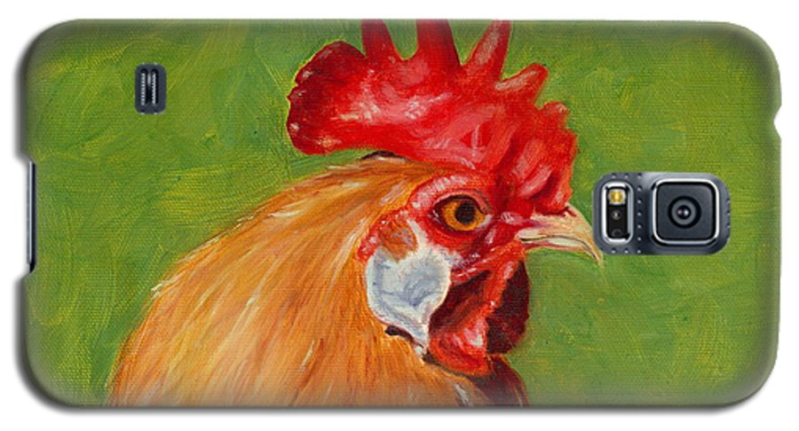 Rooster Galaxy S5 Case featuring the painting The Gladiator by Paula Emery