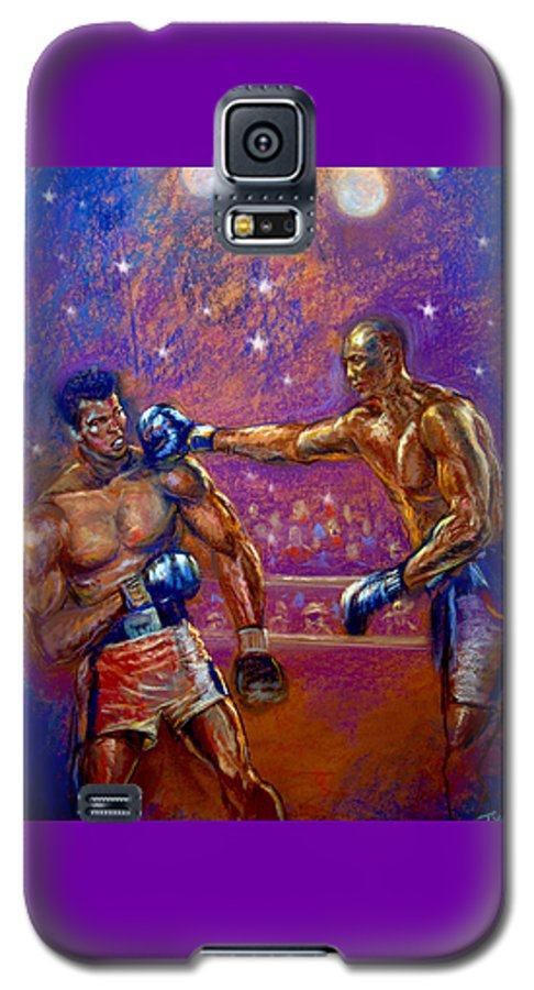 Boxing Galaxy S5 Case featuring the pastel the Greatest Muhammed Ali vs Jack Johnson by Tommy Winn