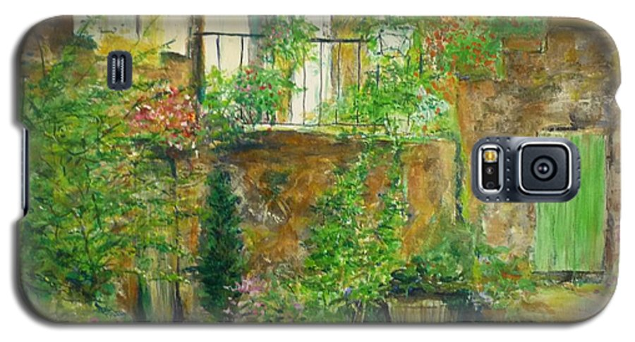 Stone Galaxy S5 Case featuring the painting The Green Door by Lizzy Forrester
