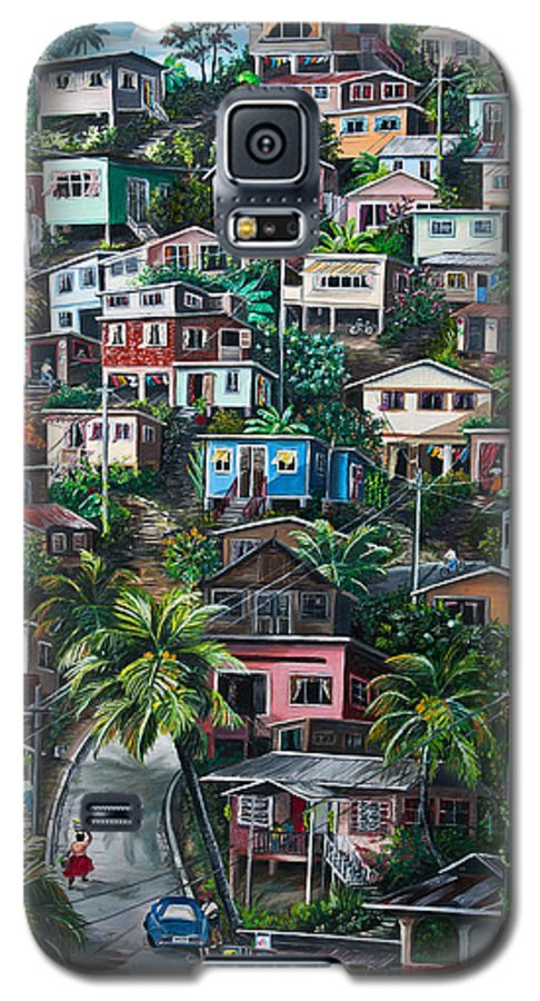 Landscape Painting Cityscape Painting Houses Painting Hill Painting Lavantille Port Of Spain Painting Trinidad And Tobago Painting Caribbean Painting Tropical Painting Caribbean Painting Original Painting Greeting Card Painting Galaxy S5 Case featuring the painting The Hill   Trinidad by Karin Dawn Kelshall- Best