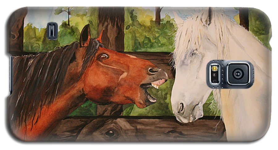 Horse Galaxy S5 Case featuring the painting The Horse Whisperers by Jean Blackmer