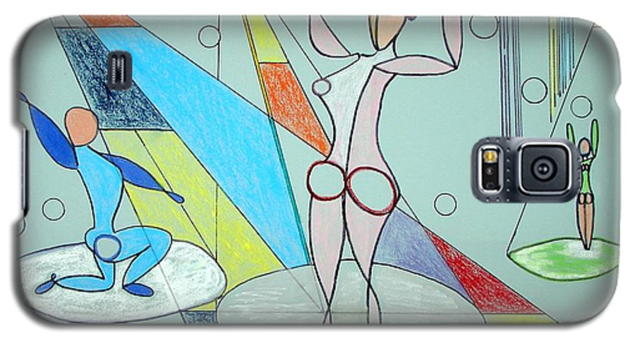 Juggling Galaxy S5 Case featuring the drawing The Jugglers by J R Seymour