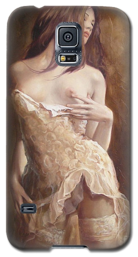 Art Galaxy S5 Case featuring the painting The Laces by Sergey Ignatenko