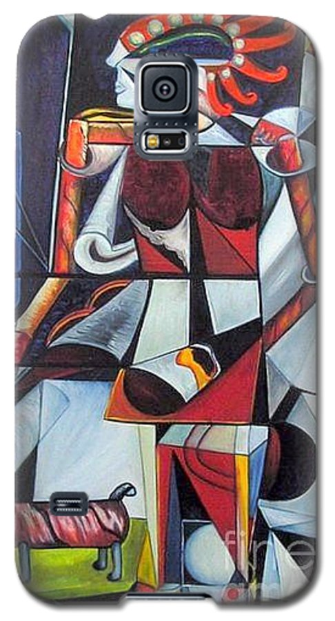 Cubism Galaxy S5 Case featuring the painting The Lady And Her Dog by Pilar Martinez-Byrne