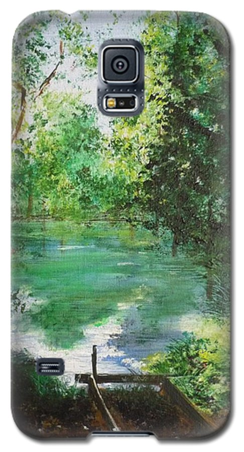 Lake Galaxy S5 Case featuring the painting The Lake At Stansted Unfinished by Lizzy Forrester