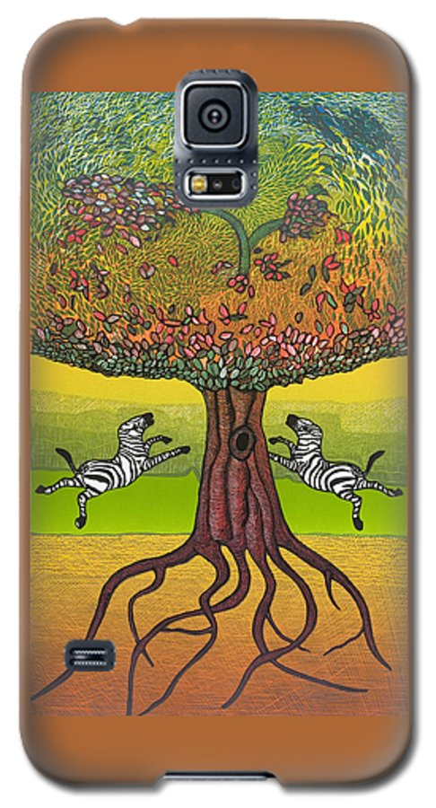 Landscape Galaxy S5 Case featuring the mixed media The Life-giving Tree. by Jarle Rosseland