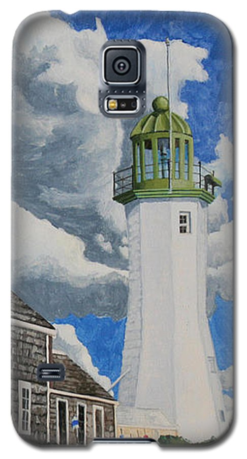 Lighthouse Galaxy S5 Case featuring the painting The Light Keeper's House by Dominic White