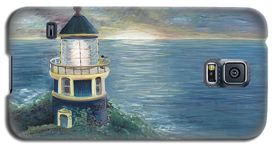 Lighthouse Galaxy S5 Case featuring the painting The Lighthouse by Nadine Rippelmeyer