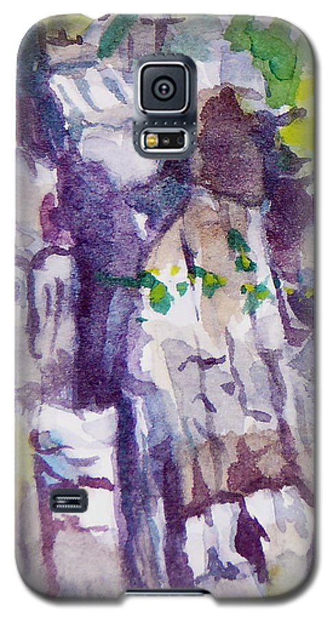 Purple Galaxy S5 Case featuring the painting The Little Climbing Wall by Jan Bennicoff