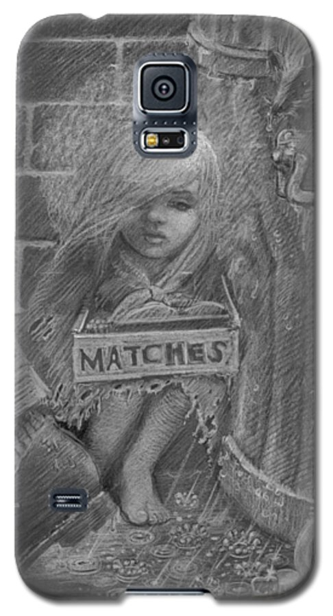 Hans Christian Andersen Galaxy S5 Case featuring the drawing The Little Matchseller by David Dozier