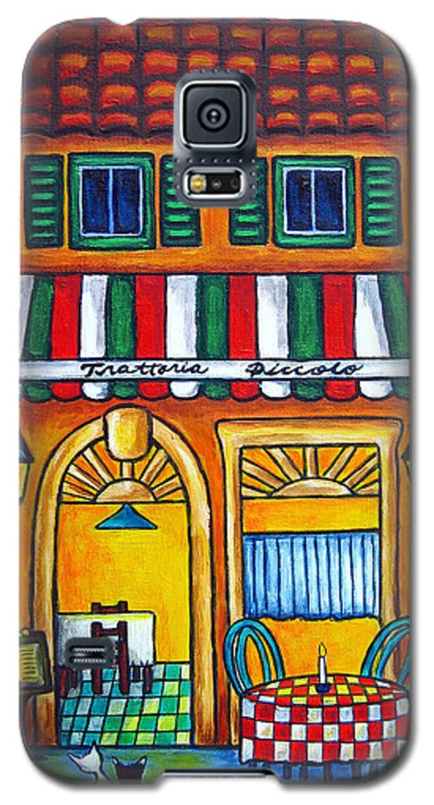 Blue Galaxy S5 Case featuring the painting The Little Trattoria by Lisa Lorenz