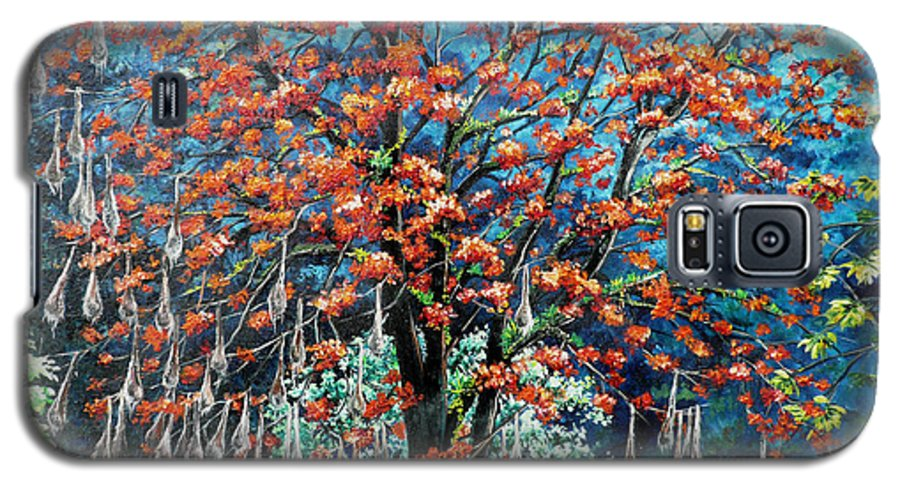 Tree Painting Mountain Painting Floral Painting Caribbean Painting Original Painting Of Immortelle Tree Painting  With Nesting Corn Oropendula Birds Painting In Northern Mountains Of Trinidad And Tobago Painting Galaxy S5 Case featuring the painting The Mighty Immortelle by Karin Dawn Kelshall- Best