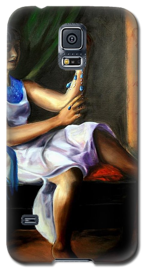 Portrait Galaxy S5 Case featuring the painting The Necklace by Maryn Crawford