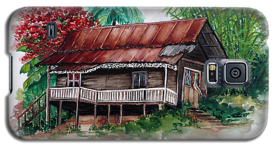 Tropical Painting Poincianna Painting Caribbean Painting Old House Painting Cocoa House Painting Trinidad And Tobago Painting  Tropical Painting Flamboyant Painting Poinciana Red Greeting Card Painting Galaxy S5 Case featuring the painting The Old Cocoa House by Karin Dawn Kelshall- Best