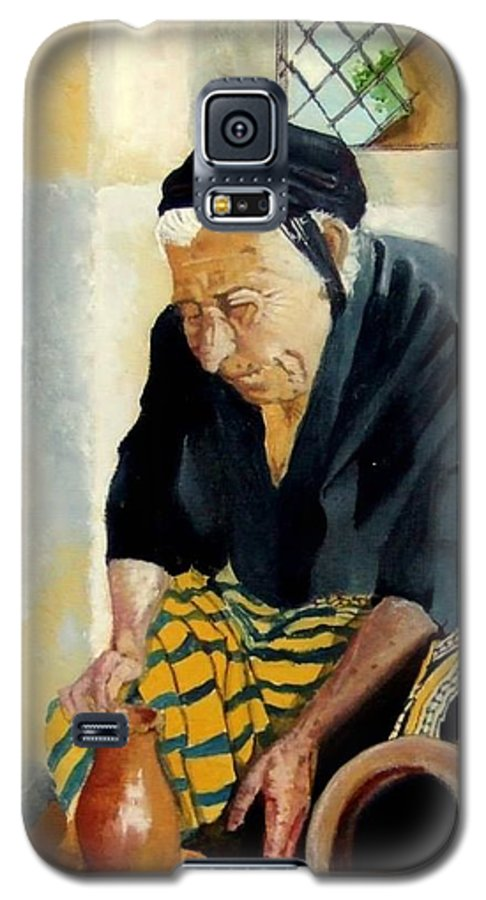 Old People Galaxy S5 Case featuring the painting The Old Potter by Jane Simpson