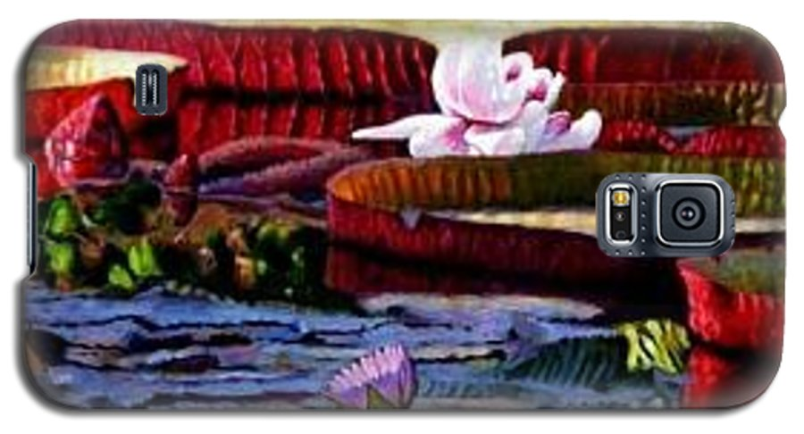 Shadows And Sunlight Across Water Lilies. Galaxy S5 Case featuring the painting The Patterns Of Beauty by John Lautermilch
