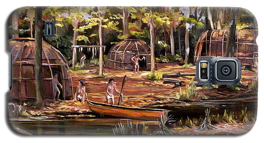 Institute Of American Indian Galaxy S5 Case featuring the painting The Pequots by Nancy Griswold