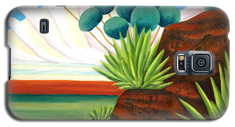 Landscape Galaxy S5 Case featuring the painting The Petroglyphs by Lynn Soehner