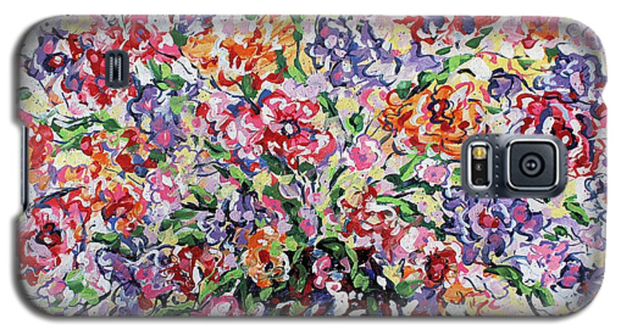 Flowers Galaxy S5 Case featuring the painting The Rainbow Flowers by Leonard Holland
