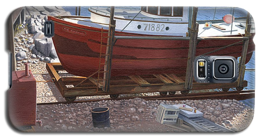 Fishing Boat Galaxy S5 Case featuring the painting The Red Troller by Gary Giacomelli