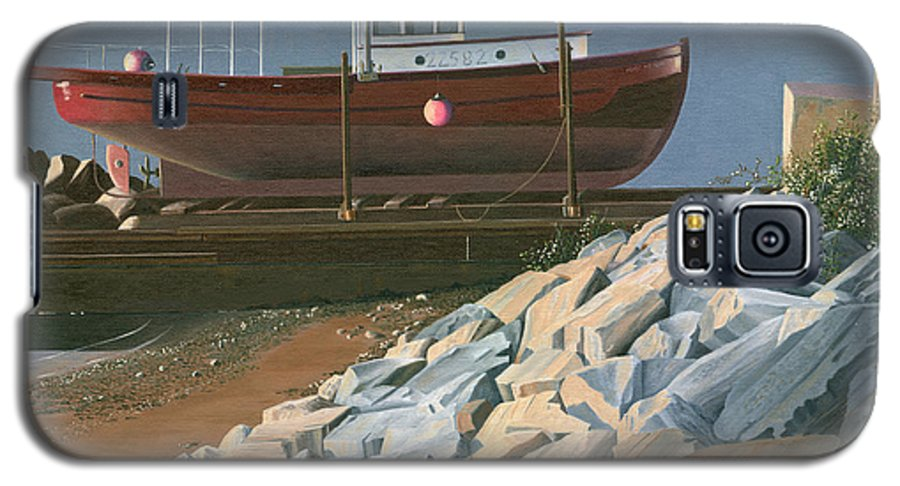 Ship Galaxy S5 Case featuring the painting The Red Troller Revisited by Gary Giacomelli