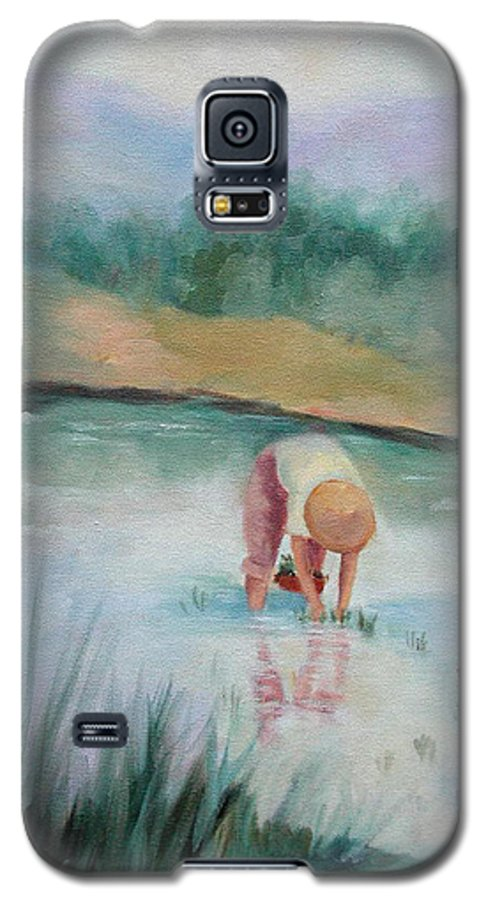 Figurative Galaxy S5 Case featuring the painting The Rice Planter by Ginger Concepcion