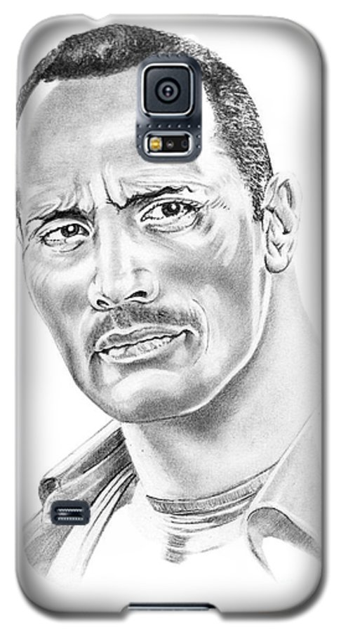 Pencil Galaxy S5 Case featuring the drawing The Roc  Dwain Johnson by Murphy Elliott