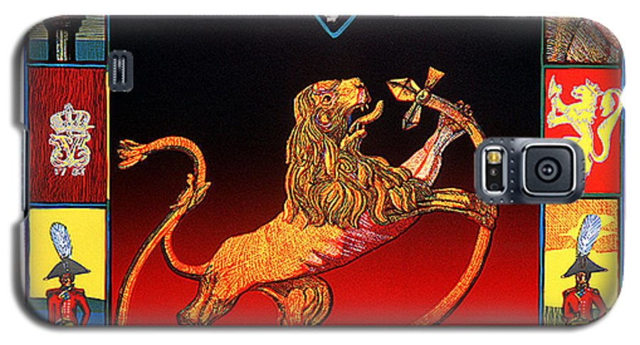 Historic Galaxy S5 Case featuring the mixed media The Royal Norwegian Lion by Jarle Rosseland