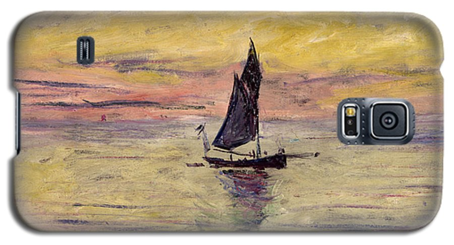 French Galaxy S5 Case featuring the painting The Sailing Boat Evening Effect by Claude Monet
