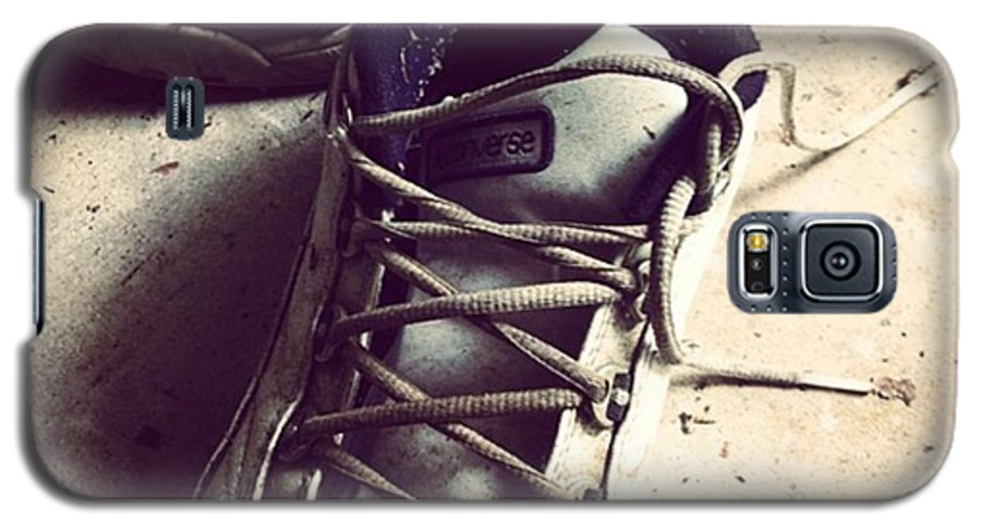 Shoes Galaxy S5 Case featuring the photograph The Shoes He Left Behind by Dana Coplin