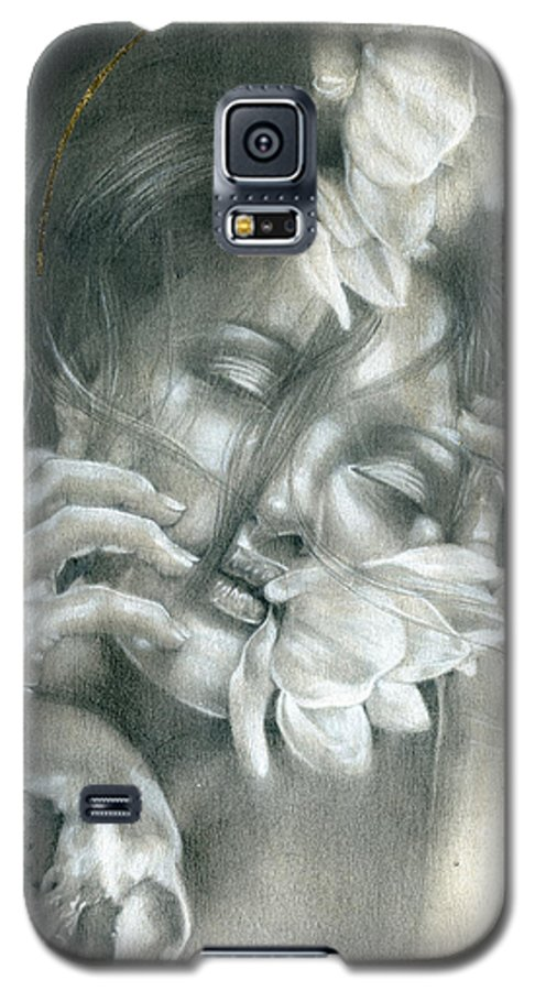 Girl Galaxy S5 Case featuring the drawing The Soul Hovers Above All The Horizons by Patricia Ariel