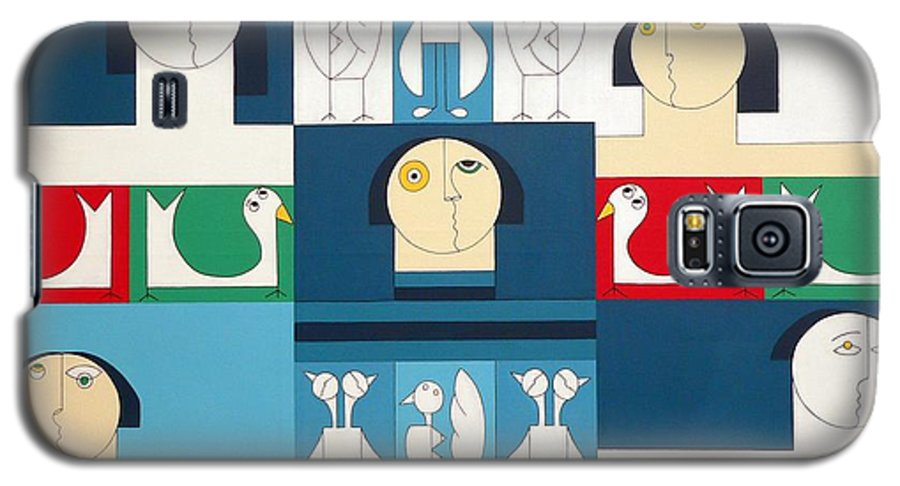 People Birds Music Modern Special Galaxy S5 Case featuring the painting The Sound Of Birds by Hildegarde Handsaeme